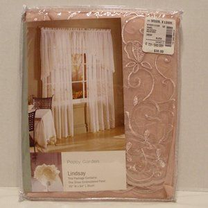 "Poppy Garden 1998 Blush Sheer Window Panel 84""x56"""